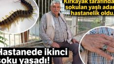 Kırkayak sokan adam hastanelik oldu.Hastanede ikinci şoku yaşadı