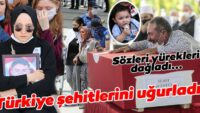 Türkiye şehitlerini uğurladı! Şehidin eşinin sözleri yürekleri dağladı…