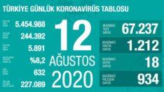 12 Ağustos 2020 | Türkiye Günlük Koronavirüs Tablosu
