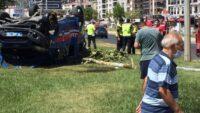 Jandarma minibüsü takla attı, 3 jandarma yaralandı