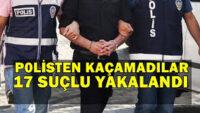 Balıkesir'de polis 17 aranan şahsı yakaladı.