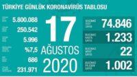 17 Ağustos 2020   Türkiye Günlük Koronavirüs Tablosu