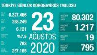 23 Ağustos 2020   Türkiye Günlük Koronavirüs Tablosu