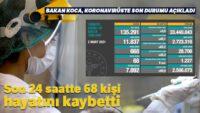 Son 24 saatte korona virüsten 68 kişi hayatını kaybetti