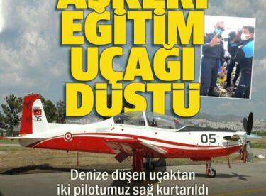 İzmir'de askeri eğitim uçağı denize düştü: İki pilot kurtarıldı