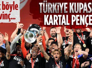 Ziraat Türkiye Kupası'nı kazanan Beşiktaş kupayı kaldırdı