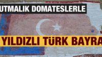 Kurutmalık domateslerle ay yıldızlı Türkiye haritası olşturuldu