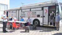 """Kan Bağışı"""" kampanyası Balıkesir İl Müftülüğü bahçesinde gerçekleştirildi."""